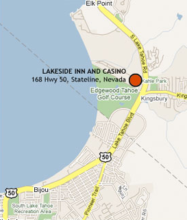 Tahoe Map Showing Lakeside Inn and Casino